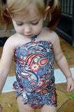 Girls Swimsuit Baby Bathing Suit Teal Paisley Print Wrap Around Swimsuit One Wrap Toddler Tie On - hisOpal Swimwear - 1