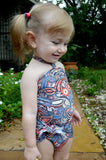 Girls Swimsuit Baby Bathing Suit Teal Paisley Print Wrap Around Swimsuit One Wrap Toddler Tie On - hisOpal Swimwear - 4
