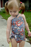 Girls Swimsuit Baby Bathing Suit Teal Paisley Print Wrap Around Swimsuit One Wrap Toddler Tie On - hisOpal Swimwear - 5