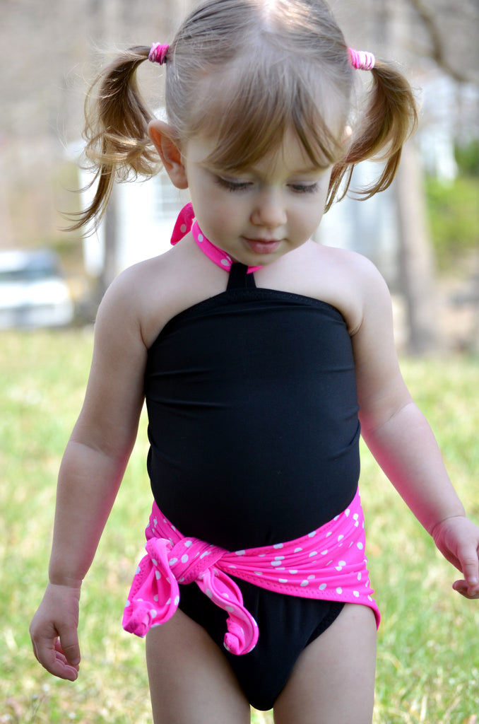 Baby Bathing Suit Pink and White Polka Dots w/ Black Wrap Around Swimsuit Girls