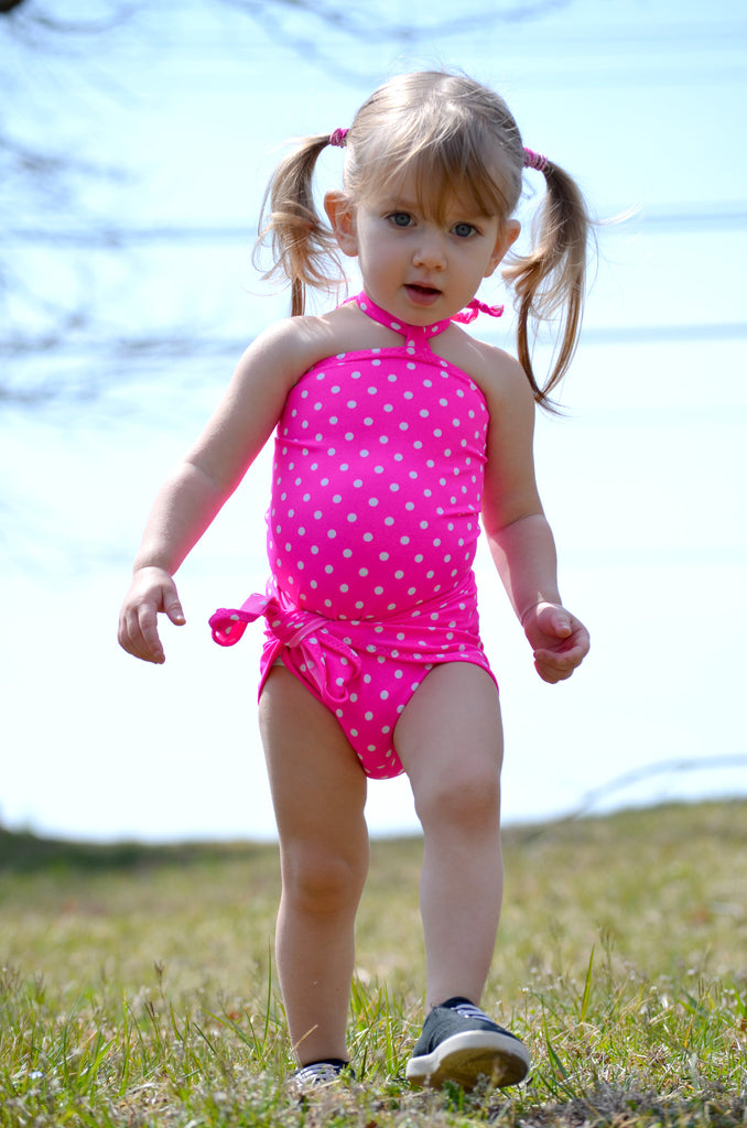 Baby Bathing Suit Pink and White Polka Dots Wrap Around Swimsuit Girls, Newborn