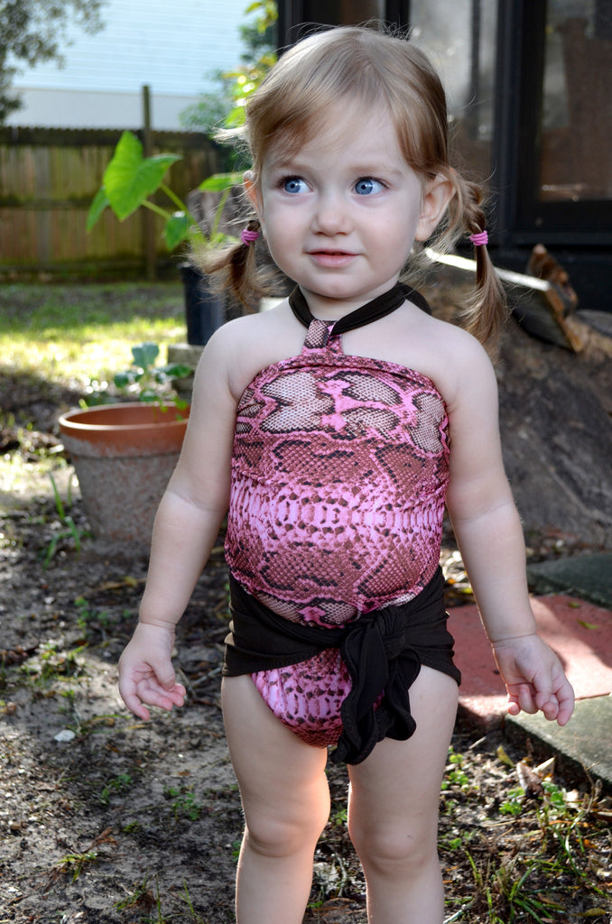 Baby Bathing Suit Pink Snakeskin with Brown Tie On Swimsuit to fit Newborn Girls to Toddler 3 - hisOpal Swimwear - 1
