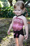 Baby Bathing Suit Pink Snakeskin with Brown Tie On Swimsuit to fit Newborn Girls to Toddler 3 - hisOpal Swimwear - 2