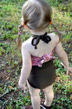 Baby Bathing Suit Pink Snakeskin with Brown Tie On Swimsuit to fit Newborn Girls to Toddler 3 - hisOpal Swimwear - 3