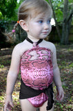 Baby Bathing Suit Pink Snakeskin with Brown Tie On Swimsuit to fit Newborn Girls to Toddler 3 - hisOpal Swimwear - 4