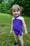 Baby Bathing Suit Solid Purple Wrap Around Swimsuit Toddler Infant Girls Swimwear One Size - hisOpal Swimwear - 1