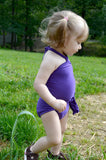 Baby Bathing Suit Solid Purple Wrap Around Swimsuit Toddler Infant Girls Swimwear One Size - hisOpal Swimwear - 2