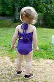 Baby Bathing Suit Solid Purple Wrap Around Swimsuit Toddler Infant Girls Swimwear One Size - hisOpal Swimwear - 3