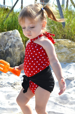 Baby Bathing Suit Classic Black with Red and White Polka Dots Wrap Swimsuit