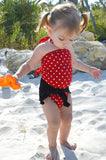 Baby Bathing Suit Classic Black with Red and White Polka Dots Wrap Around Swimsuit - hisOpal Swimwear - 3