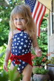 Baby Bathing Suit Red and Blue with White Stars Red White and Blue Patriotic Swimsuit