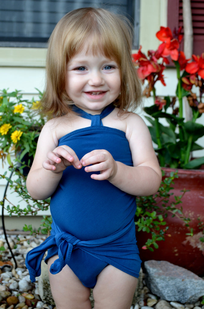 Girls Bathing Suit Teal Wrap Around Bikini Toddler Swimsuit Girls Swimwear One Size Swimsuit - hisOpal Swimwear - 1