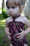 Baby Bathing Suit Teeny Pink Flowers on Brown Wrap Around Swimsuit Newborn Girl Infant Swimwear - hisOpal Swimwear - 6