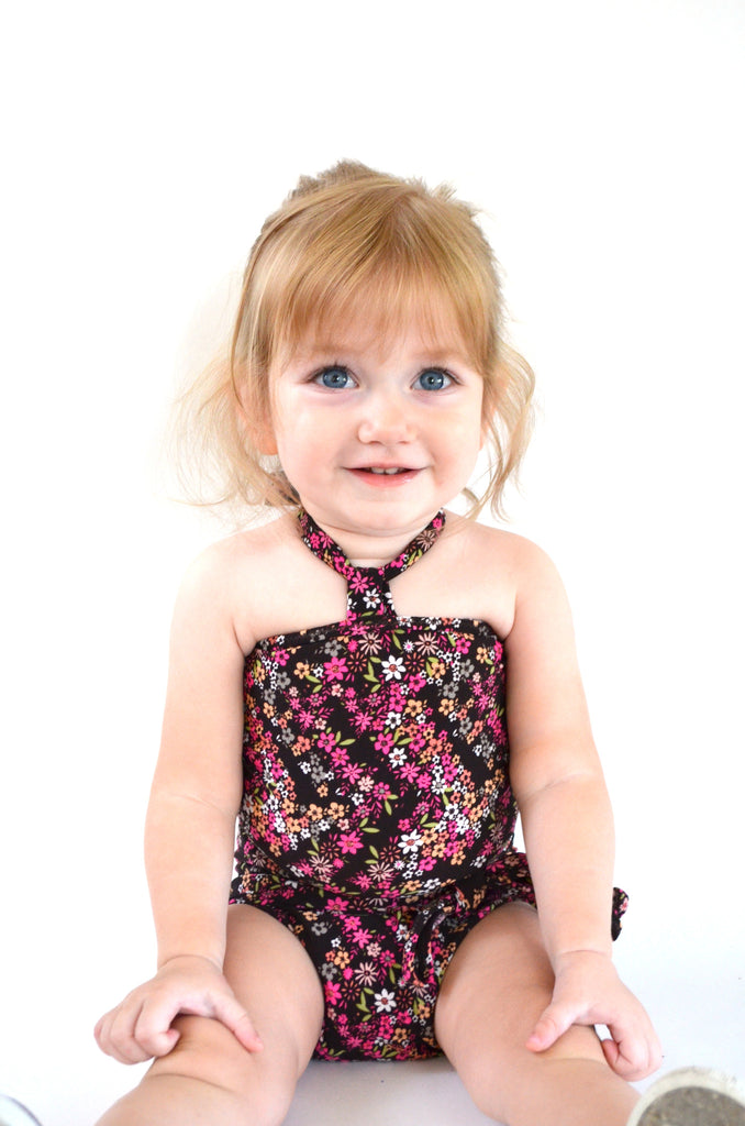 Baby Bathing Suit Teeny Pink Flowers on Brown Wrap Around Swimsuit Newborn Girl Infant Swimwear - hisOpal Swimwear - 1