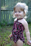Baby Bathing Suit Teeny Pink Flowers on Brown Wrap Around Swimsuit Newborn Girl Infant Swimwear - hisOpal Swimwear - 2