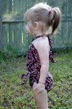 Baby Bathing Suit Teeny Pink Flowers on Brown Wrap Around Swimsuit Newborn Girl Infant Swimwear - hisOpal Swimwear - 3