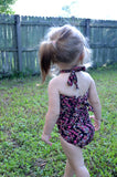 Baby Bathing Suit Teeny Pink Flowers on Brown Wrap Around Swimsuit Newborn Girl Infant Swimwear - hisOpal Swimwear - 4