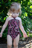 Baby Bathing Suit Teeny Pink Flowers on Brown Wrap Around Swimsuit Newborn Girl Infant Swimwear - hisOpal Swimwear - 5