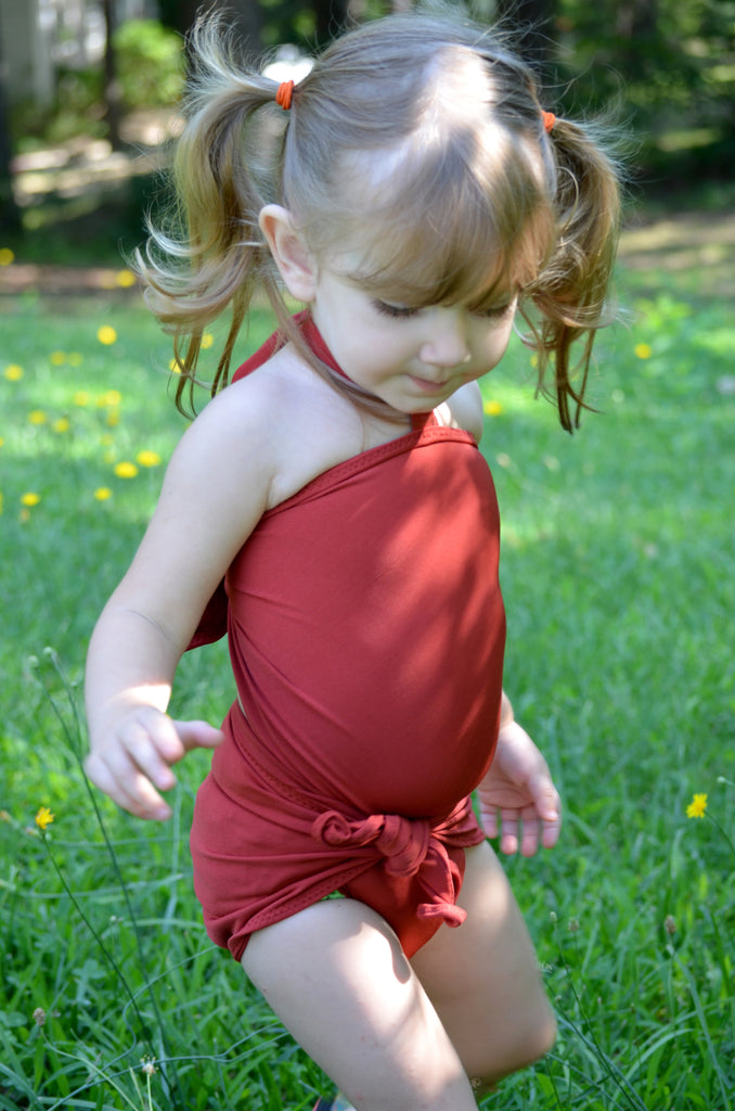 Baby Bathing Suit Terracotta Wrap Around Swimsuit Toddler Girls Swimwear