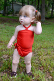 Baby Bathing Suit Tomato Red Wrap Around Swimsuit Toddler Infant Girls Tie On Swimwear - hisOpal Swimwear - 2