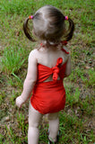 Baby Bathing Suit Tomato Red Wrap Around Swimsuit Toddler Infant Girls Tie On Swimwear - hisOpal Swimwear - 3