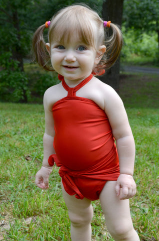 Baby Bathing Suit Tomato Red Wrap Around Swimsuit Toddler Infant Girls Tie On Swimwear