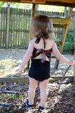 Girls Bathing Suit Black Floral Print Baby Body Suit One Size Swimwear Infant Swim Suit One Wrap - hisOpal Swimwear - 3