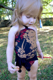 Girls Bathing Suit Black Floral Print Baby Body Suit One Size Swimwear Infant Swim Suit One Wrap - hisOpal Swimwear - 6