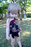 Girls Bathing Suit Black Floral Print Baby Body Suit One Size Swimwear Infant Swim Suit One Wrap - hisOpal Swimwear - 5