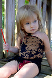 Girls Bathing Suit Black Floral Print Baby Body Suit One Size Swimwear Infant Swim Suit One Wrap - hisOpal Swimwear - 1