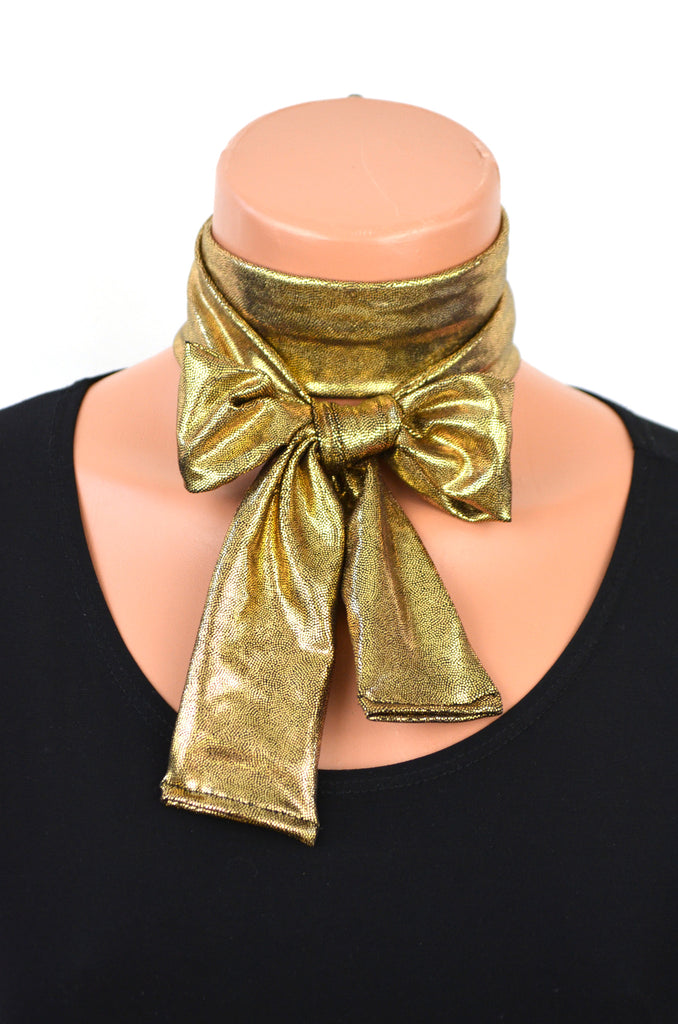 Black Gold Scarf Metallic Neck tie Gold Lightweight Scarf Ascot Tie Holiday Tie Head Wrap Cravat - hisOpal Swimwear - 1