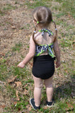 Girls Bathing Suit Neon Green w/ Black Floral Print Baby Body Suit One Size Toddler