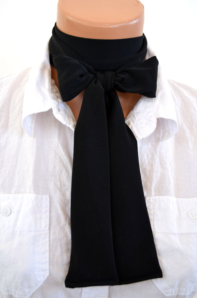 Black Scarf Neck Tie Lightweight Layering Fashion Accessories Sash Belt Black Neck Bow Black Tie - hisOpal Swimwear - 1