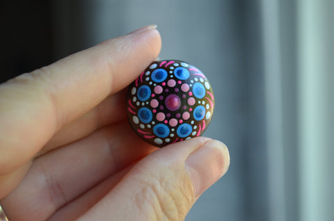 Small Mandala, Hand Painted Sea Bean, Mini Mandala, hamburger drift seed, painted rock section