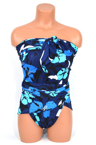 Plus Size Swimsuit XL Bathing Suit Blue Tropical Flower Print Wrap Around Swimwear