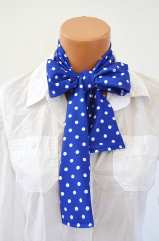 Neck Tie Blue with White Polka Dots Print Neck Bow Lightweight Scarf Polka Dot Ascot Tie Unisex Tie