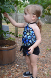 Baby Bathing Suit Blue Skulls Print with Classic Black Wrap Around Swimsuit Tie On Swimwear - hisOpal Swimwear - 2