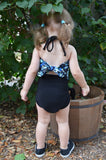 Baby Bathing Suit Blue Skulls Print with Classic Black Wrap Around Swimsuit Tie On Swimwear - hisOpal Swimwear - 3