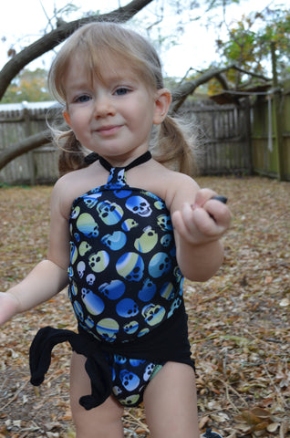 Baby Bathing Suit Blue Skulls Print with Classic Black Wrap Around Swimsuit Tie On Swimwear
