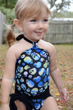 Baby Bathing Suit Blue Skulls Print with Classic Black Wrap Around Swimsuit Tie On Swimwear - hisOpal Swimwear - 4