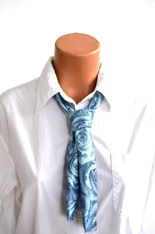 Southwestern Scarf Metallic Blue Rose and Snakeskin Print Women's Neck Tie Lightweight Neck Bow