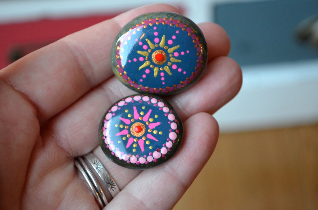 Cute Fridge Magnets, Hand Painted Rock, Blue Mandala Magnets, 2 Refrigerator Magnets, Kitchen Decor
