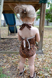 Baby Bathing Suit Brown Paisley Print Wrap Around Swimsuit to fit Newborn Girls to Toddler 3 - hisOpal Swimwear - 4