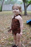 Baby Bathing Suit Brown Paisley Print Wrap Around Swimsuit to fit Newborn Girls to Toddler 3 - hisOpal Swimwear - 1