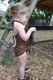 Baby Bathing Suit Brown Paisley Print Wrap Around Swimsuit to fit Newborn Girls to Toddler 3 - hisOpal Swimwear - 2