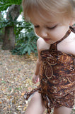 Baby Bathing Suit Brown Paisley Print Wrap Around Swimsuit to fit Newborn Girls to Toddler 3 - hisOpal Swimwear - 3