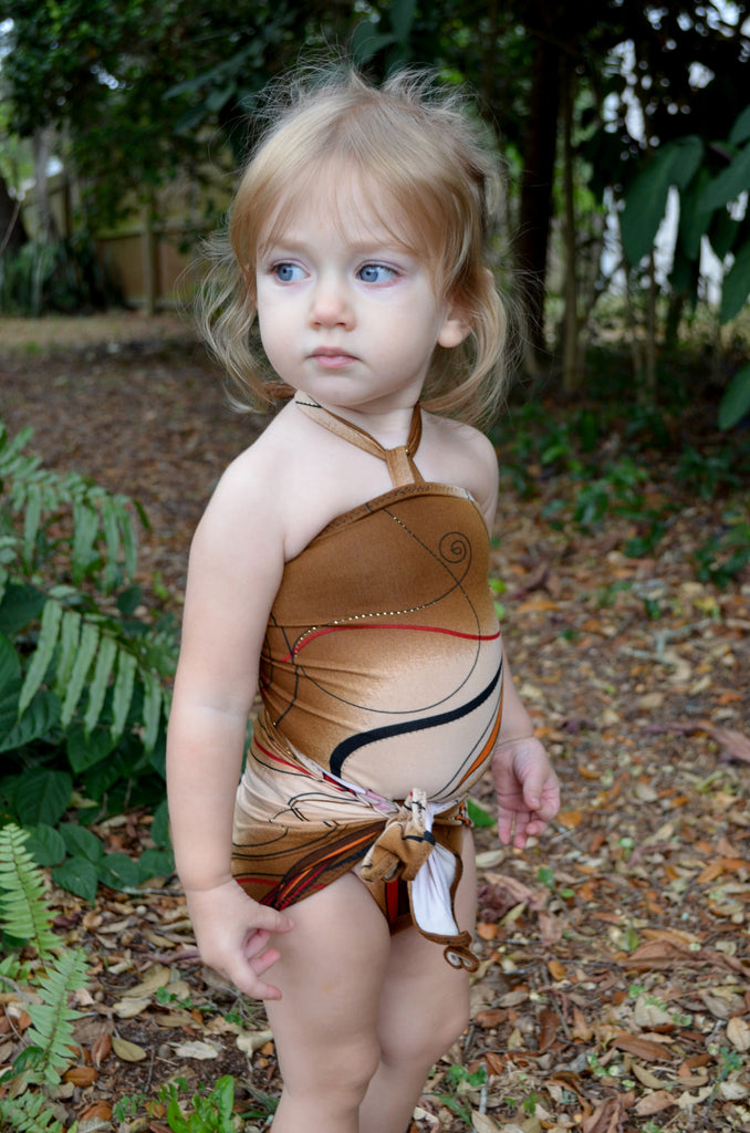 Baby Bathing Suit Brown Swirl Print Wrap Around Swimsuit to fit Newborn Girls to Toddler 3 - hisOpal Swimwear - 1
