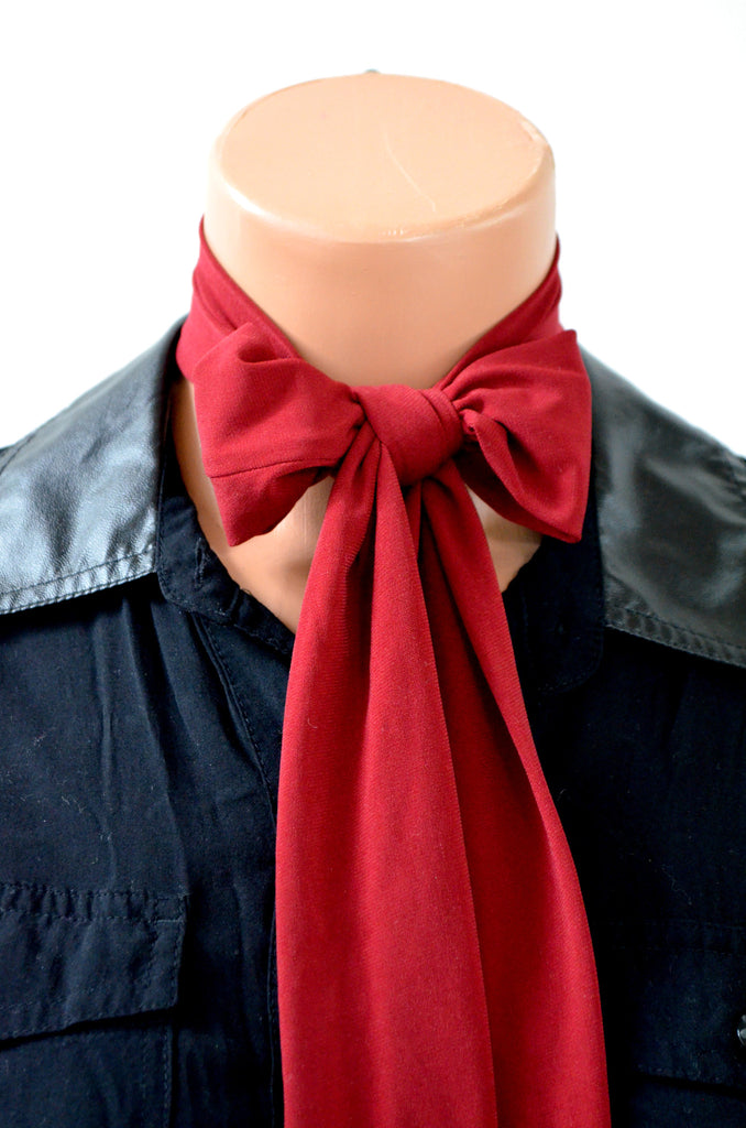 Neck tie Burgundy Lightweight Scarf, Wine Sash Belt, Neck Bow, Dark Red Hair Tie, Head Wrap, hisOpal - hisOpal Swimwear - 1