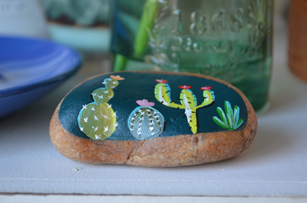 Painted Rock Desert, Cactus Rock, Midnight Cactus Garden, Hand Painted Rock