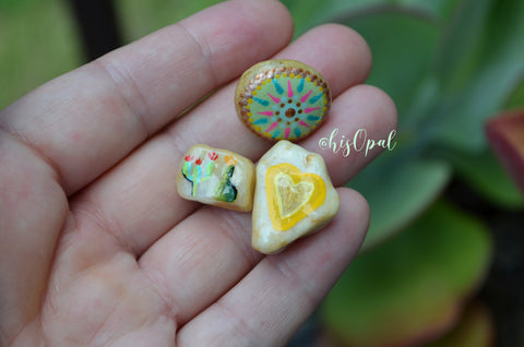 Cute Fridge Magnets, Hand Painted Rock, Mini Magnets, 3 Refrigerator Magnets